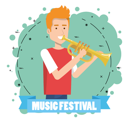 Music festival live with man playing trumpet vector illustration design