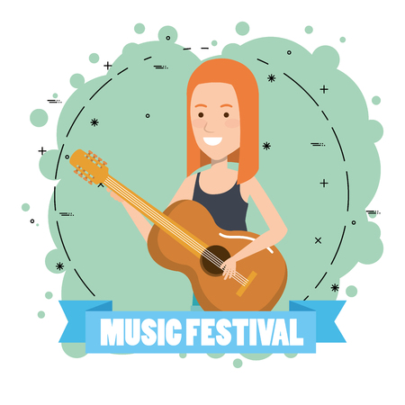 Music festival live with woman playing acoustic guitar vector illustration design.