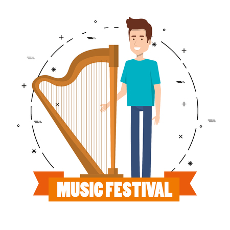 Music festival live with man playing harp vector illustration design.