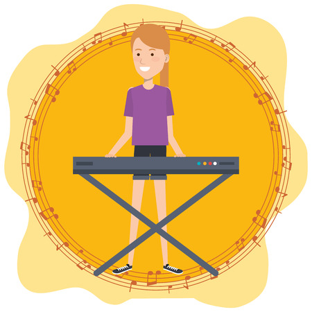 Music festival live with woman playing piano vector illustration design. Archivio Fotografico - 99910021