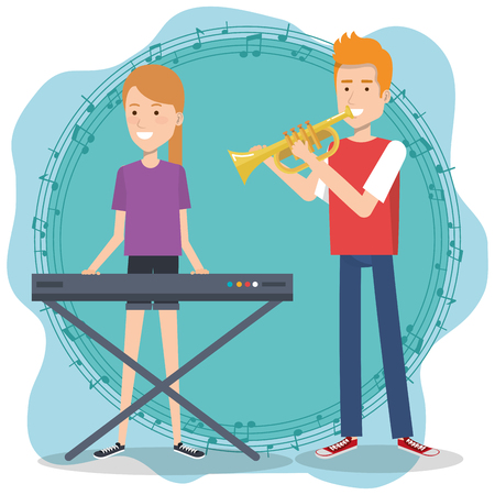 Music festival live with couple playing piano and trumpet vector illustration.