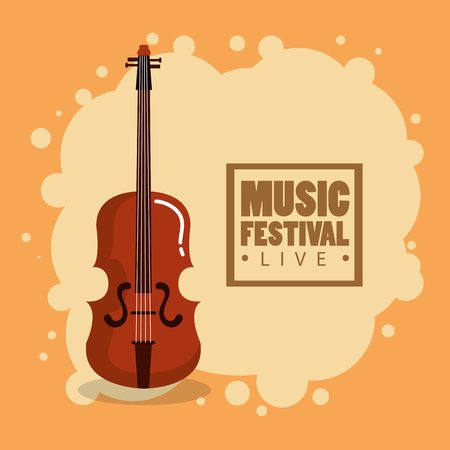 Music festival live with violin vector illustration design.