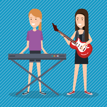 music festival live with women playing piano and guitar vector illustration Archivio Fotografico - 99909948