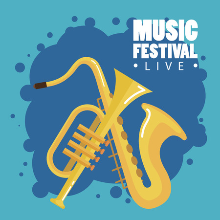 music festival live with saxophone and trumpet vector illustration design  イラスト・ベクター素材