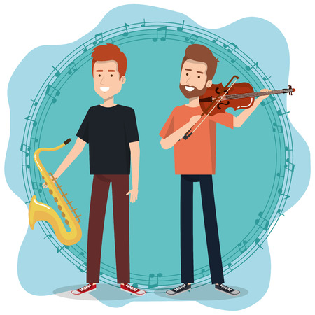 music festival live with men playing saxophone and violin vector illustration