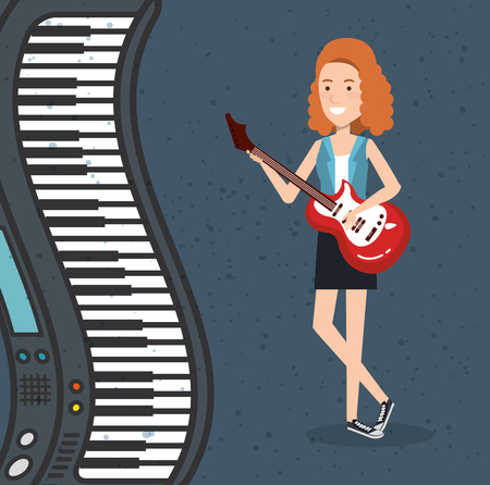 music festival live with woman playing electric guitar vector illustration design Archivio Fotografico - 99909958