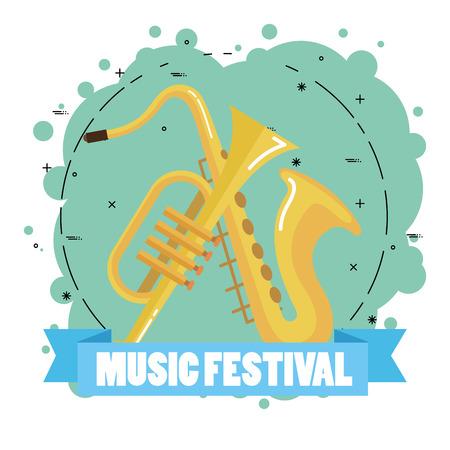 music festival live with saxophone and trumpet vector illustration design Иллюстрация