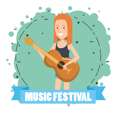 music festival live with woman playing acoustic guitar vector illustration design