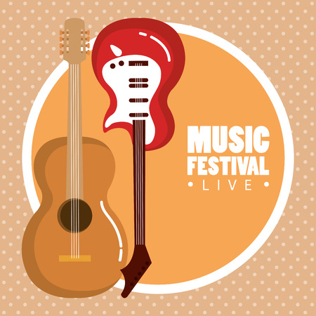 music festival live with electric and acoustic guitars vector illustration design Stok Fotoğraf - 99884348