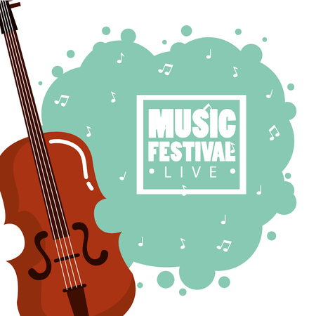 music festival live with violin vector illustration design