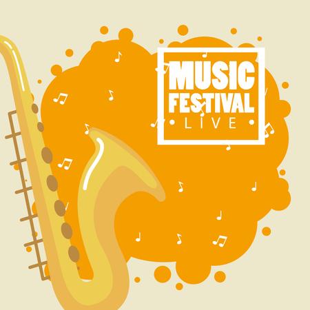 music festival live with saxophone vector illustration design