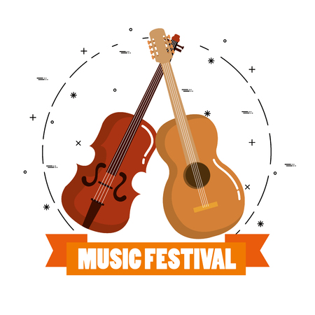 music festival live with violin and guitar acoustic vector illustration design