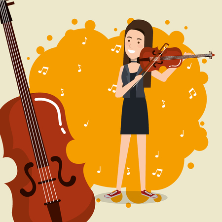 music festival live with woman playing violin vector illustration design