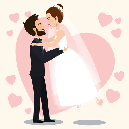 husband lifting wife avatars characters vector illustration design