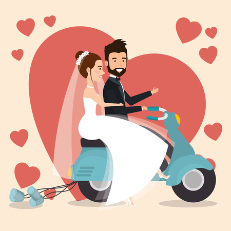 just married couple in motorcycle avatars characters vector illustration design