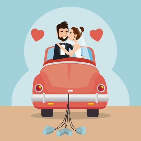Gerade verheiratete Paar mit Auto Avatare Zeichen Vektor-Illustration Design Standard-Bild - 99903214
