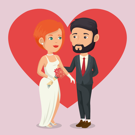 just married couple with hearts avatars characters vector illustration design Ilustração