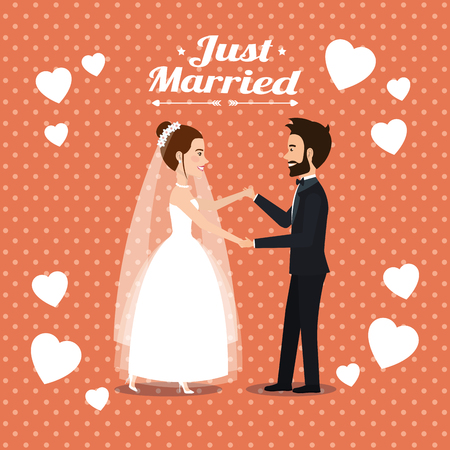 just married couple dancing avatars characters vector illustration design