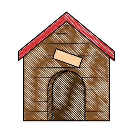 wooden house pet icon vector illustration design