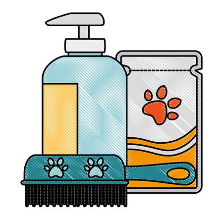 set pet grooming products vector illustration design Illustration