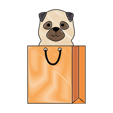 cute dog in shopping bag character vector illustration design Stock Vector - 99932545