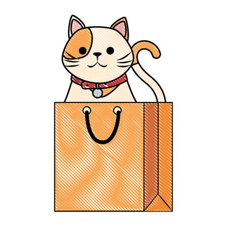 cute cat mascot in shopping bag character vector illustration design