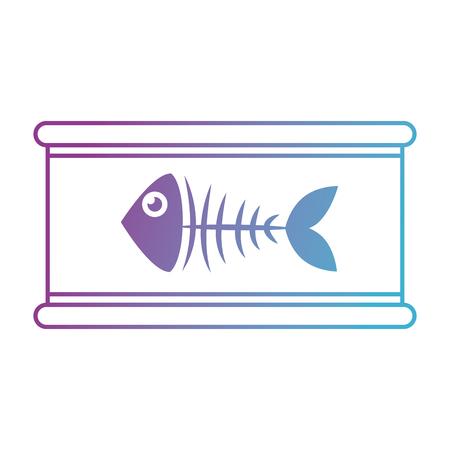 tuna can with fisn skeleton vector illustration design