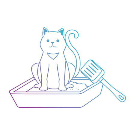 cute cat mascot in the sand box character vector illustration design 向量圖像