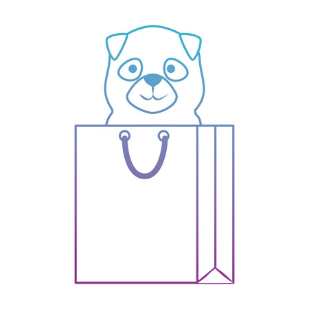cute dog in shopping bag character vector illustration design Stock Vector - 99909549