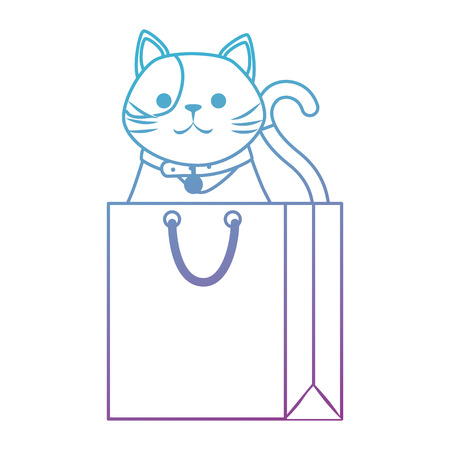 cute cat mascot in shopping bag character vector illustration design Stock Vector - 99909562