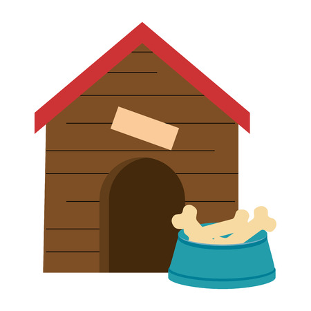 A wooden house for pet with dish bones vector illustration design