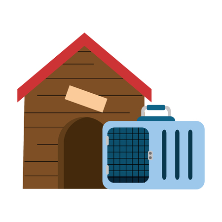 A wooden house for pet with transport box vector illustration design