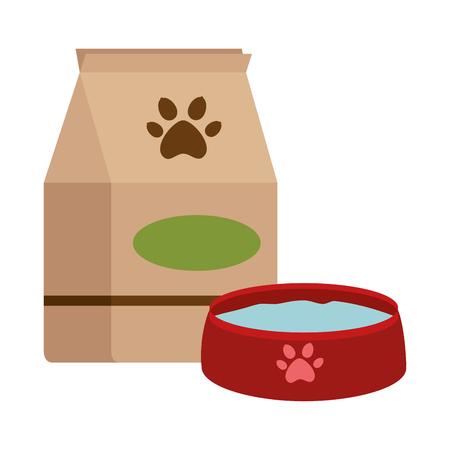 Pet shop paper bag with dish vector illustration design