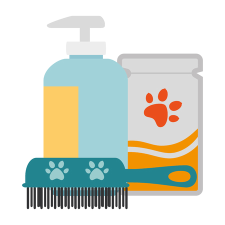 Set of pet grooming products vector illustration design