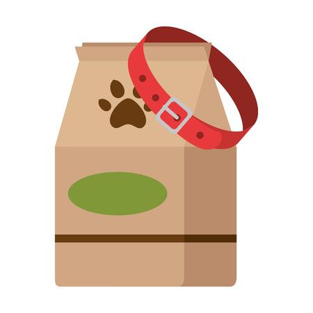 Pet shop paper bag with dog collar vector illustration design Illustration