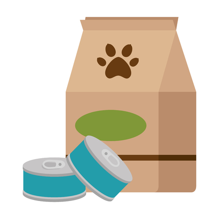 A pet shop paper bag with tuna cans vector illustration design