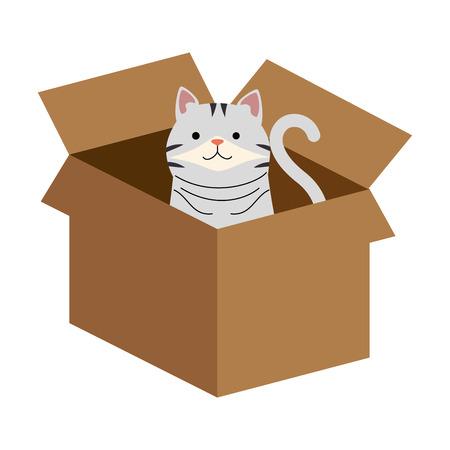 Un gatto sveglio nella progettazione dell'illustrazione di vettore del contenitore di cartone Vettoriali