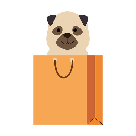 A cute dog in shopping bag vector illustration design