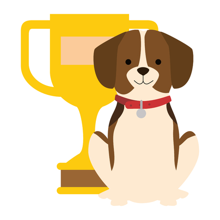 A cute dog with trophy vector illustration design  イラスト・ベクター素材