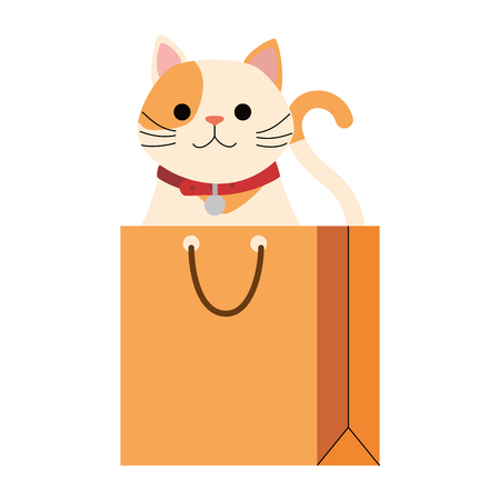 cute cat mascot in shopping bag character vector illustration design Stock Vector - 99932595