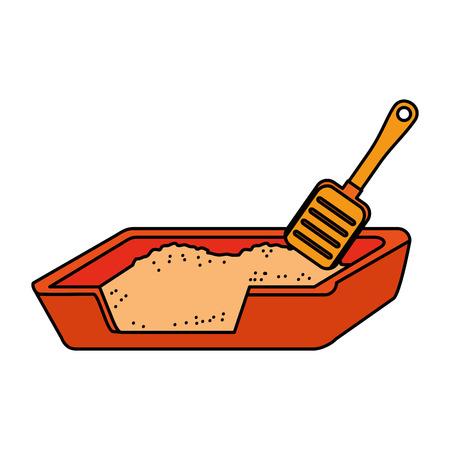 cat sand box with shovel vector illustration design