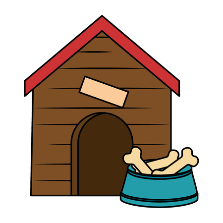wooden house pet with dish bones vector illustration design Zdjęcie Seryjne - 99917142