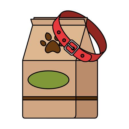 pet shop paper bag with necklace vector illustration design