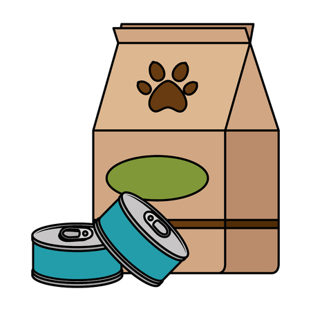 pet shop paper bag with tuna cans vector illustration design