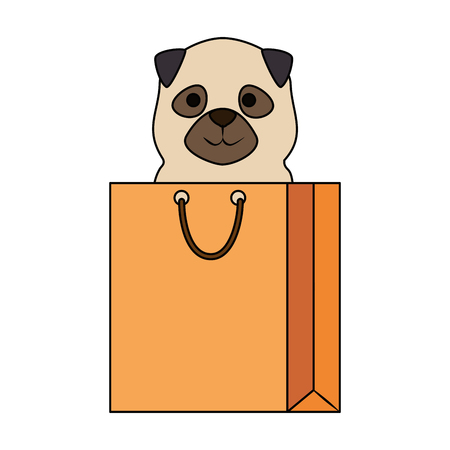 cute dog in shopping bag character vector illustration design Illustration