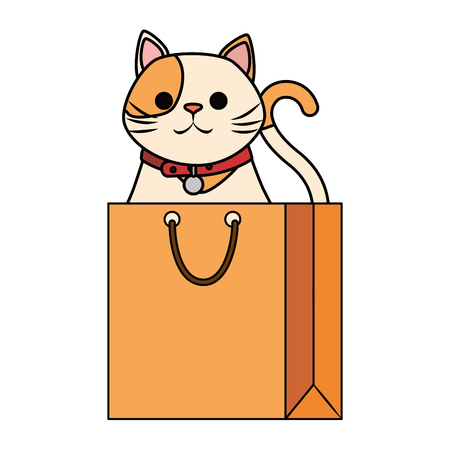cute cat mascot in shopping bag character vector illustration design 写真素材 - 99932609