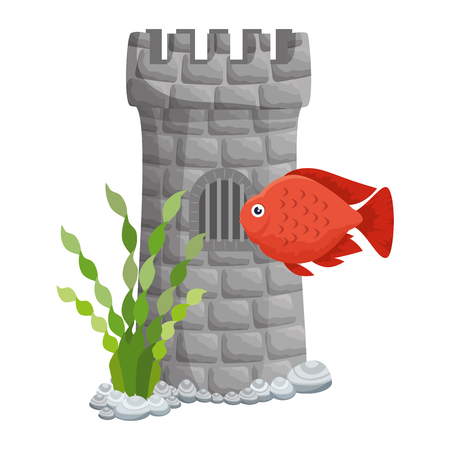 castle tower aquarium with seaweed and color fish vector illustration design Illustration