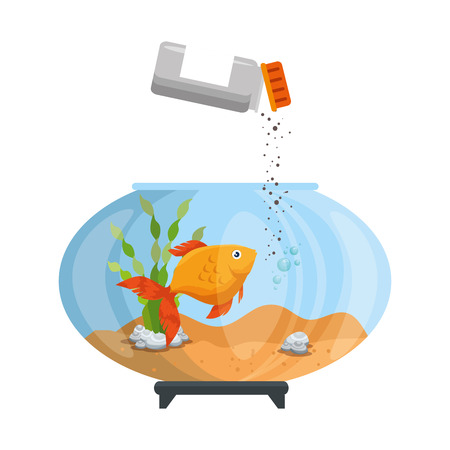 Aquarium bowl with colored fish and bottle food vector illustration design.