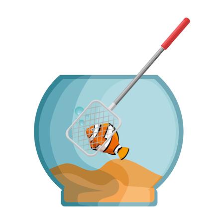 Aquarium bowl with colored fish and fishing net vector illustration design. Foto de archivo - 99886695