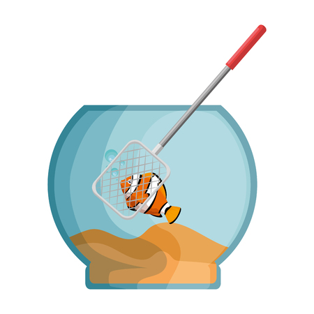 Aquarium bowl with colored fish and fishing net vector illustration design.